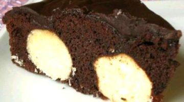 Пирог с кокосовой стружкой и шариками из творога